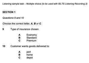 WORD UP 雅思 IELTS 題型、測驗方式、介紹、考試時間 - 一般雅思聽力範例試題